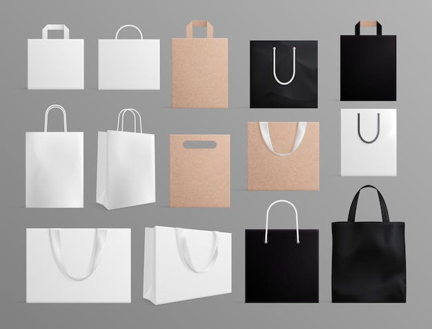 Sacchetti di carta realistici. mockup di shopping bag bianco nero, tessuto bianco e borse artigianali. imballaggio eco moda 3d per set vettoriale di branding. pacchetto mockup, illustrazione del pacchetto bianco nero e marrone