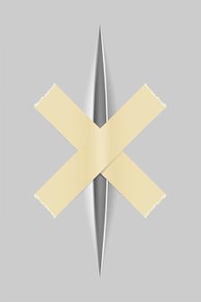 Realistici tagli di carta con un coltello con uno sfondo trasparente