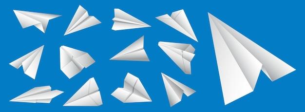Aereo di carta realistico isolato origami aereo di carta fatto a mano colore pieno origami aereo