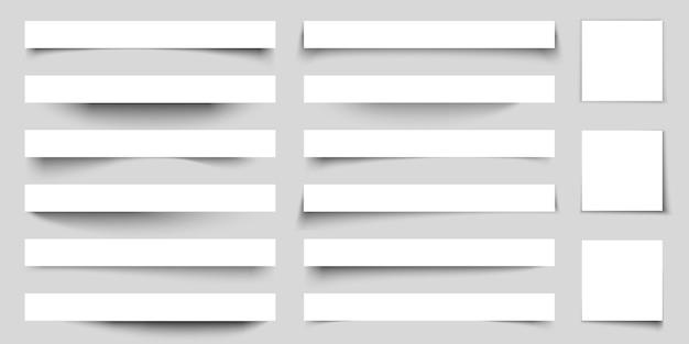 Effetti di ombreggiatura carta realistici. ombre di banner web con angoli. set di volantini poster. autoadesivo del vettore