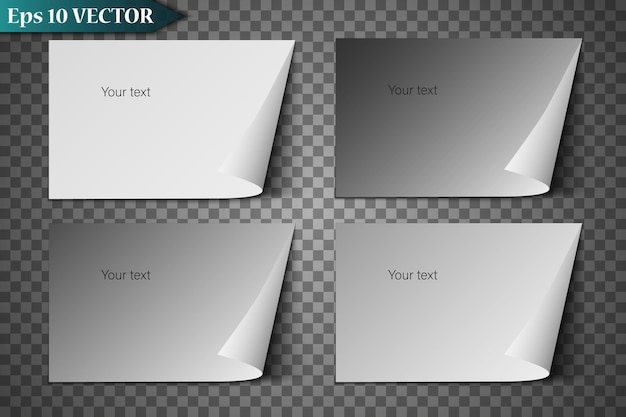Foglio di carta realistico con angolo piegato.