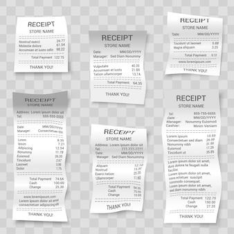 Set di ricevute realistiche del negozio di carta