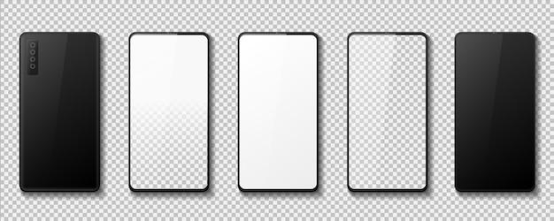Telefono realistico. mockup di gadget con schermo bianco nero e trasparente, vista frontale e posteriore dello smartphone 3d. insieme di progettazione del cellulare dell'illustrazione di vettore, prototipi isolati che toccano i gadget