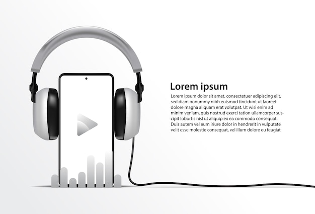 Modello di telefono realistico per app di streaming musicale