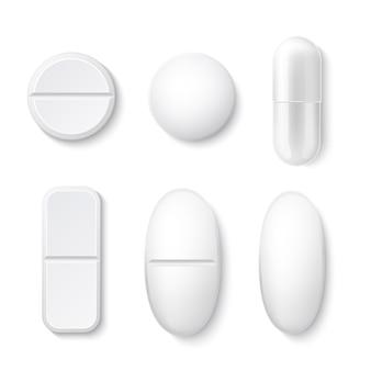 Set di pillole e droghe realistiche bianche con compresse di forme diverse
