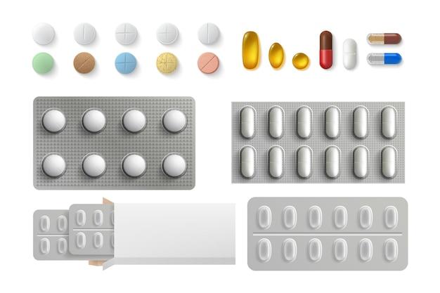 Set di pillole realistiche.