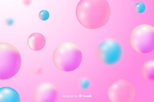 Sfondo realistico rosa palline lucide Vettore Premium