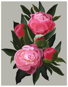 Peonie rosa realistiche.