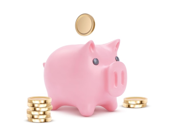 Maiale rosa realistico salvadanaio isolato su priorità bassa bianca. salvadanaio con monete, risparmio finanziario ed economia bancaria, investimento di deposito a lungo termine. illustrazione