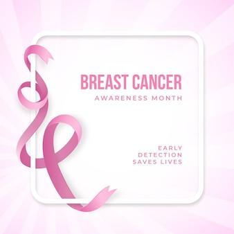 Consapevolezza del cancro del nastro rosa realistico