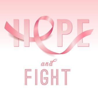 Mese di consapevolezza del cancro al seno di ottobre con nastro rosa realistico