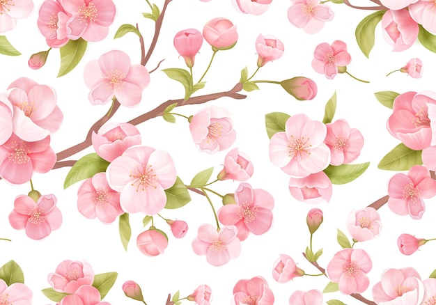 Fondo senza cuciture realistico del fiore di sakura rosa. struttura esotica di ciliegio in fiore giapponese. fiori primaverili, motivo a foglie per lo sfondo del matrimonio, tessuto, tessuto
