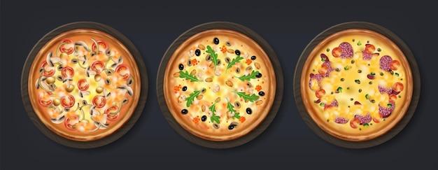 Pizza realistica. gustoso cibo di tradizione italiana con formaggio pomodoro funghi e altri condimenti, cibo casalingo con appoggio rotondo isolato. pasto rotondo del ristorante 3d di vettore su fondo nero