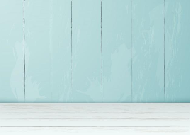 Fondo in bianco interno della stanza realistica del pavimento di legno della parete della plancia