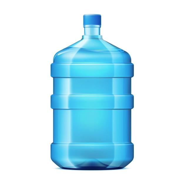 Bottiglia di plastica realistica per refrigeratore d'acqua per ufficio o casa per la consegna. contenitore di riciclo per bevande fresche. progettazione di imballaggi di acqua minerale pulita in bianco.