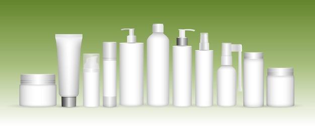 Crema di capsule di shampoo in gel di plastica e cosmetici realistici