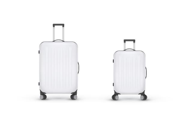Valigia di plastica realistica. borsa da viaggio su sfondo bianco. modello di banner in viaggio. illustrazione