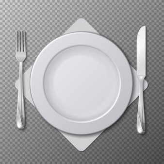Piatto realistico, vettore di posate. regolazione della tabella con piatto bianco, forchetta e coltello isolato su sfondo trasparente