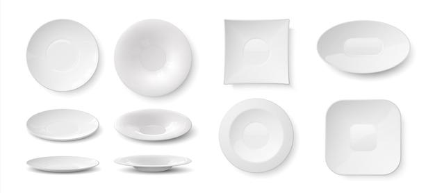 Piatti realistici. piatti 3d vuoti bianchi e ciotole mockup, stoviglie rotonde in ceramica da cucina per il cibo. le stoviglie in bianco isolate dell'illustrazione di vettore hanno messo su sfondo trasparente
