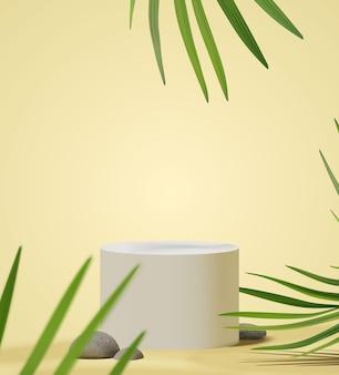 Scena realistica del podio per la presentazione del prodotto con foglie di palma tropicale naturale