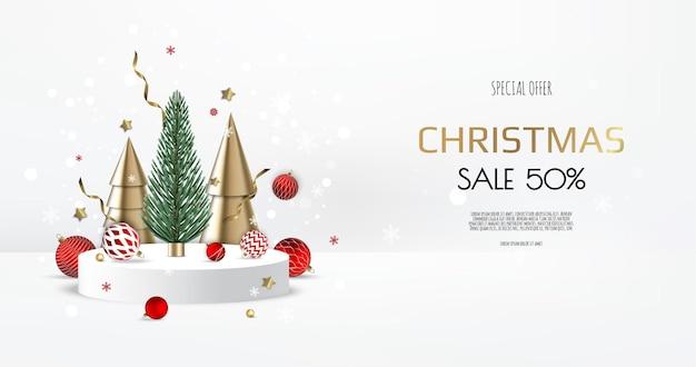 Podio realistico per il design invernale e natalizio, vendita. biglietto di auguri, banner, poster, intestazione per sito web.