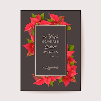Realistico poinsettia 3d flowers winter card, auguri di buon natale vettoriale. invito alla festa di capodanno. modello di banner floreale, cornice per illustrazione, brochure, copertina, cartolina di matrimonio