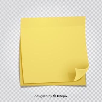 Nota post realistica su sfondo trasparente