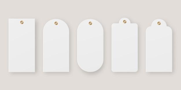 Prezzo realistico. set di tag di vendita. etichetta prezzo carta bianca. . modello . illustrazione realistica di vettore Vettore Premium