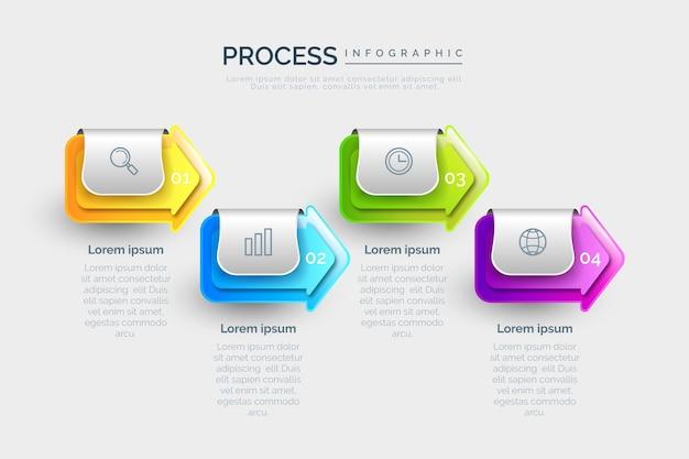 Modello di infografica di processo realistico
