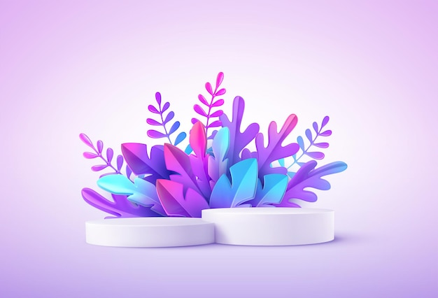 Podio prodotto realistico con fantastiche foglie tropicali