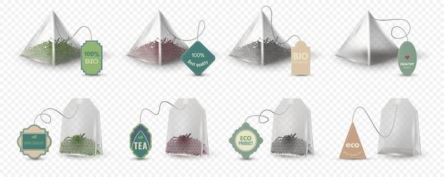 Piramide realistica e bustine di tè rettangolari verdi, rosse e nere con etichette. modello vuoto della bustina di tè 3d con le etichette per l'insieme di vettore della bevanda a base di erbe. confezione per la preparazione di bevande calde, prodotto ecologico