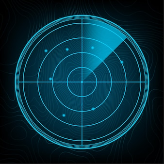 Radar realistico nella ricerca. schermo radar con gli obiettivi. illustrazione di riserva di vettore. illustrazione vettoriale