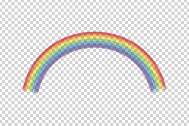 Effetto arcobaleno realistico sullo sfondo trasparente.