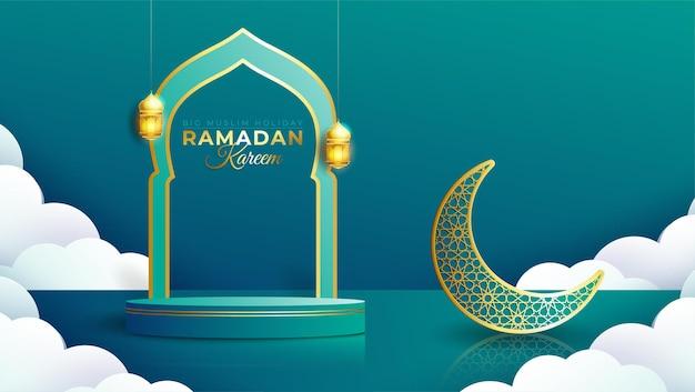 Banner realistico di ramadan kareem con podio 3d