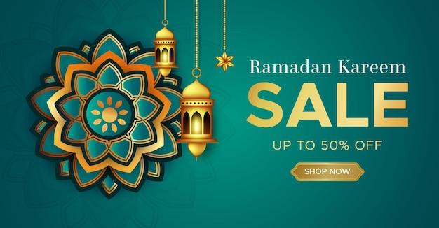 Modello realistico di banner di vendita di ramadan kareem