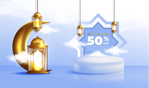 Banner di vendita realistico di ramadan kareem con podio 3d e cornice di sconto