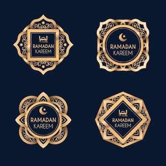 Collezione di etichette realistiche del ramadan