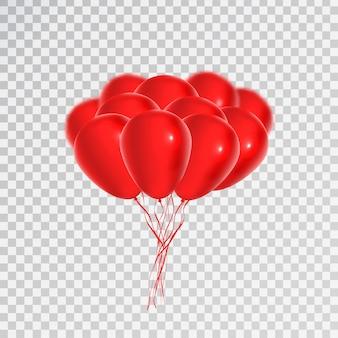 Palloncini rossi realistici per la celebrazione e la decorazione sullo sfondo trasparente. concetto di buon compleanno, anniversario e matrimonio.