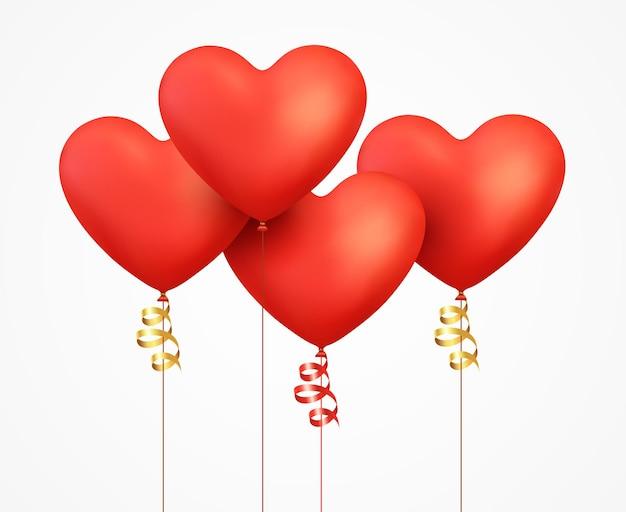 Cuore di palloncini rossi realistici con nastro e coriandoli