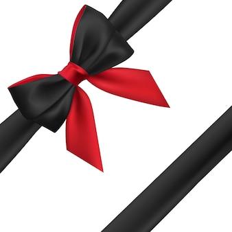 Realistico fiocco rosso e nero. elemento per regali di decorazione, saluti, vacanze.