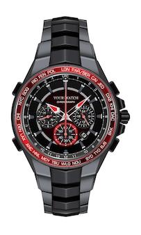 Realistico orologio in acciaio nero rosso orologio cronografo moda design per gli uomini eleganza di lusso su sfondo bianco illustrazione.