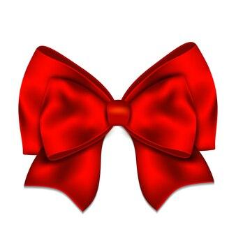 Realistico fiocco rosso isolato su sfondo bianco.