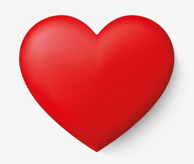 Realistico cuore rosso con ombra