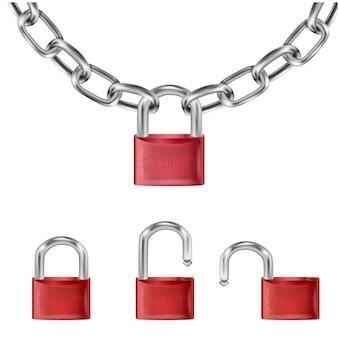 Lucchetto rosso realistico su maglie di catena in metallo, lucchetto aperto e aperto con la scritta di sicurezza.
