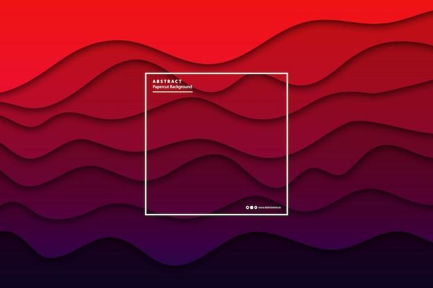 Sfondo realistico a strati di carta rossa e viola tagliata per decorazione e copertura. concetto di astratto geometrico.