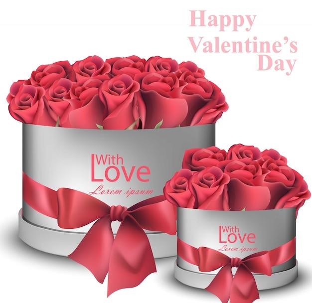 Mazzo realistico delle rose rosse in contenitori di regalo, san valentino felice