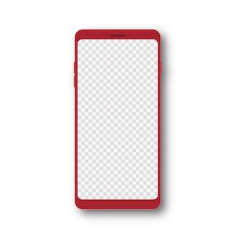 Mockup realistico del telefono cellulare 3d dello smartphone rosso con l'illustrazione di vettore dello schermo trasparente