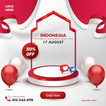 Prodotto realistico da podio rosso bianco per il modello di volantino di vendita flash del giorno dell'indipendenza indonesiana