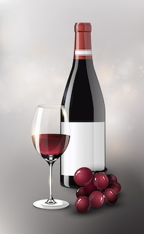 Poster realistico di vino rosso