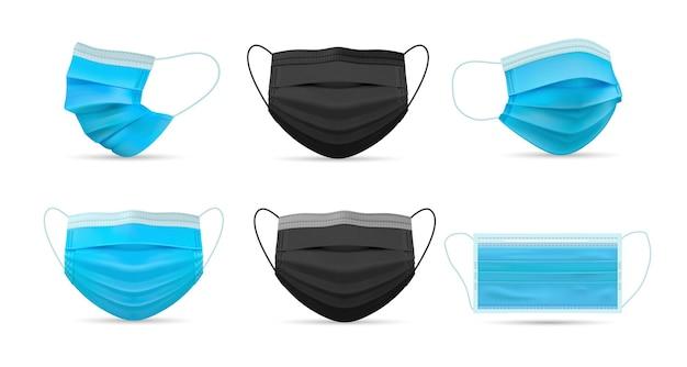 Set di maschere mediche respiratorie realistiche. collezione di respiratori medici disegnati in stile realismo dalla vista frontale su sfondo bianco. protezione dall'inquinamento atmosferico illustrazione dell'infezione da coronavirus